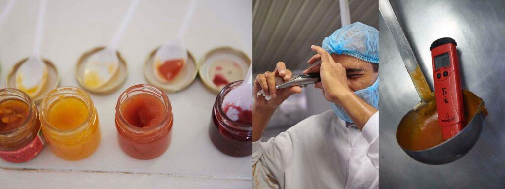 Dégustation de produits finis, contrôle du Brix après fabrication, contrôles acidité après fabrication